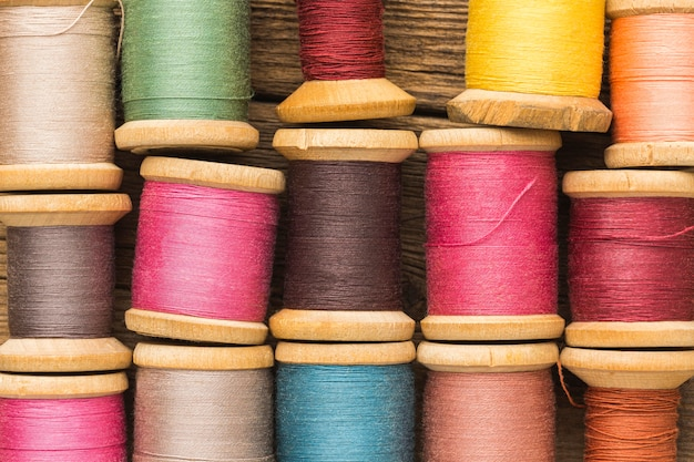 Top view of colorful thread