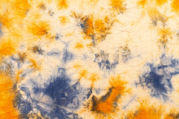 Top view of colorful tie-dye fabric