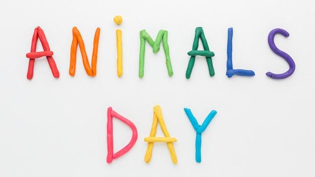 Vista dall'alto della scrittura colorata per il giorno degli animali