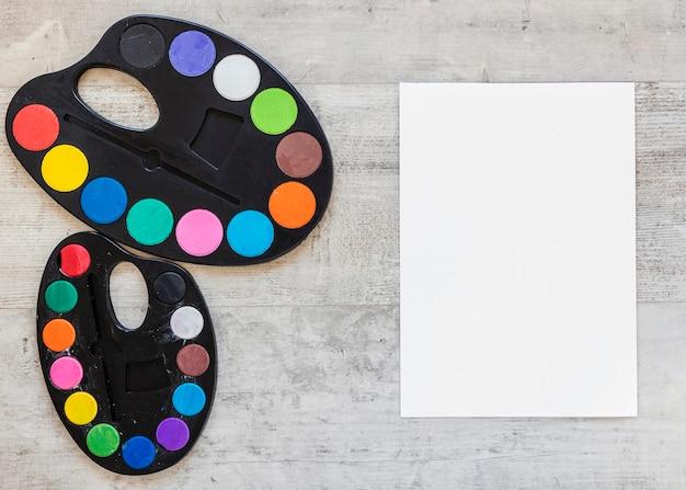 Top view colour tray palette copy space