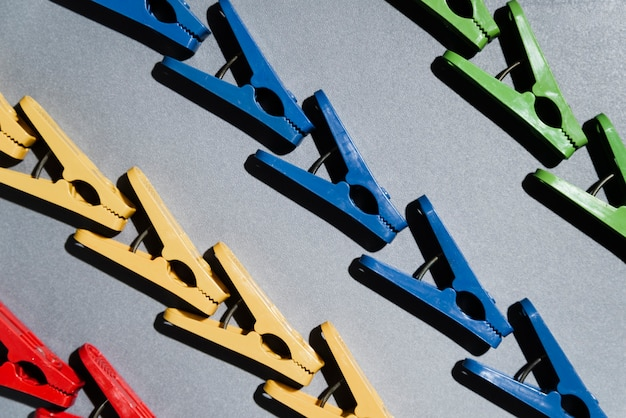 상위 뷰 화려한 clothespins