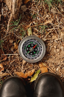 Top view compass for directions on field