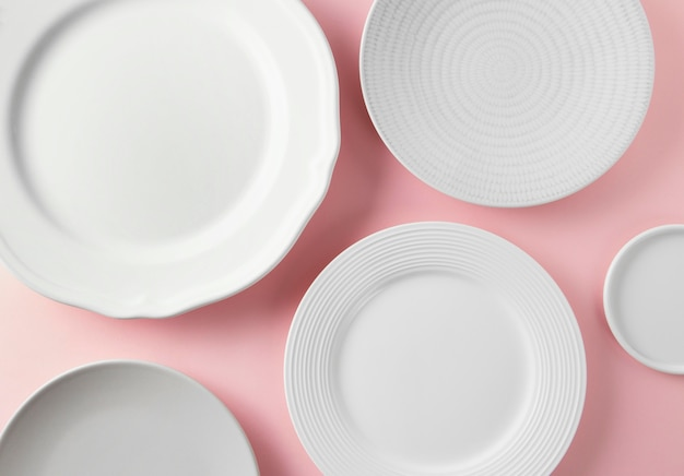Top view composition of beautiful tableware on the table