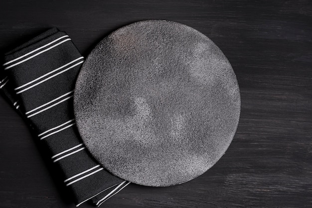 Top view composition of black tableware