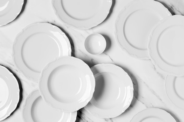 Top view composition of different plates