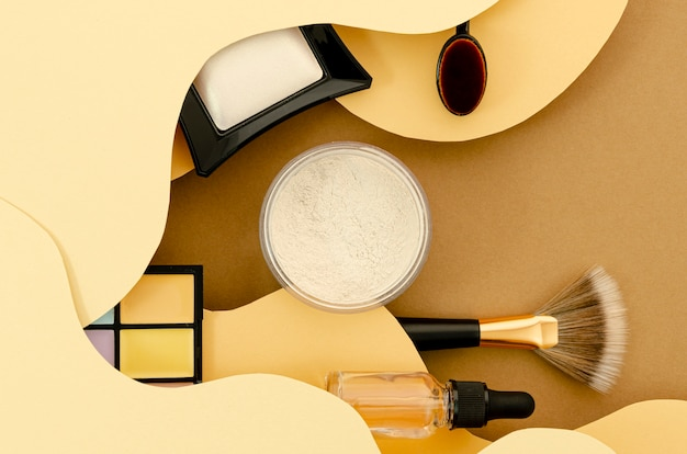 Top view composition of glamorous cosmetics
