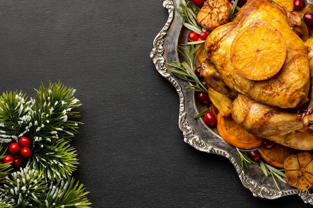 Состав вида сверху рождественской еды с копией пространства