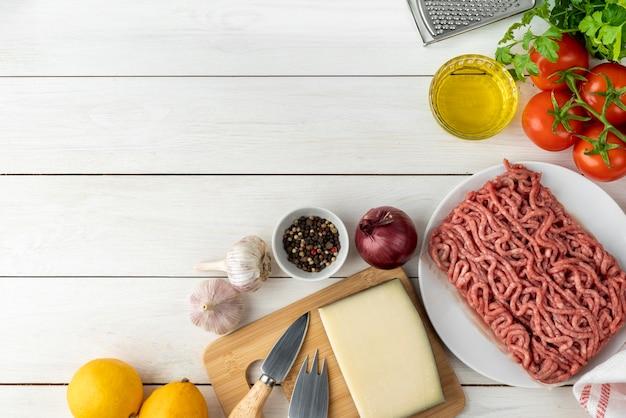 おいしい食べ物や食材の上面構成