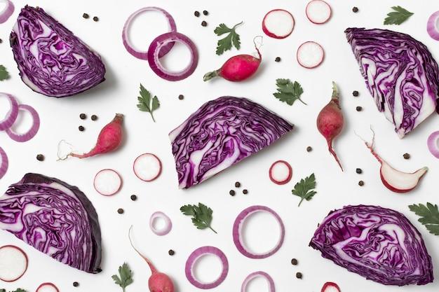熟した美味しい農産物の上面構成 無料写真