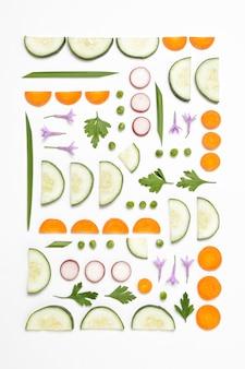 熟した美味しい農産物の上面構成