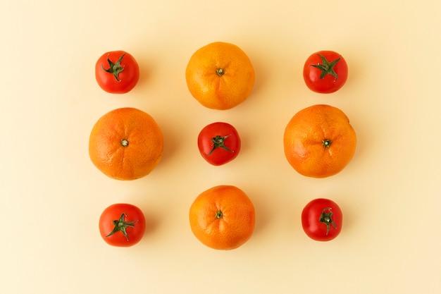 건강한 채식 음식의 상위 뷰 구성