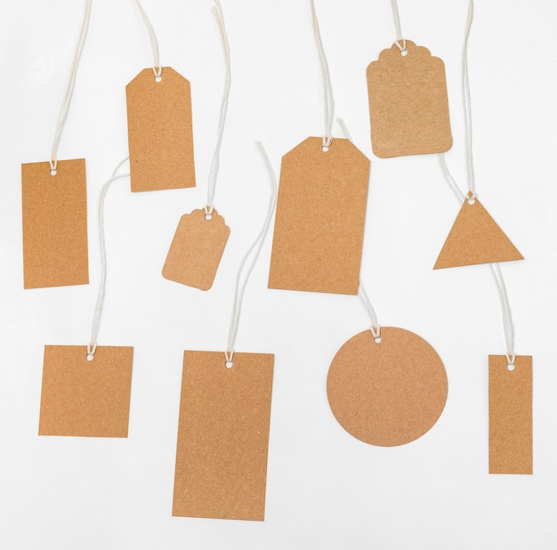 Top view composition of recyclable packaging tags