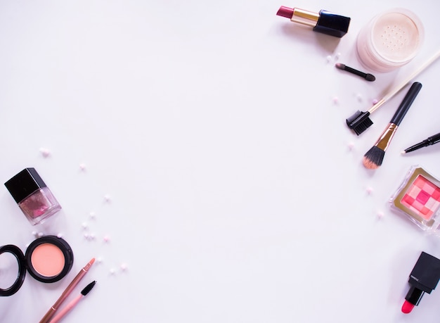 Top view composition set for professional makeup.