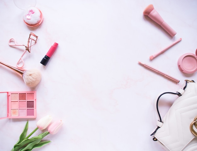 Top view composition set for professional makeup
