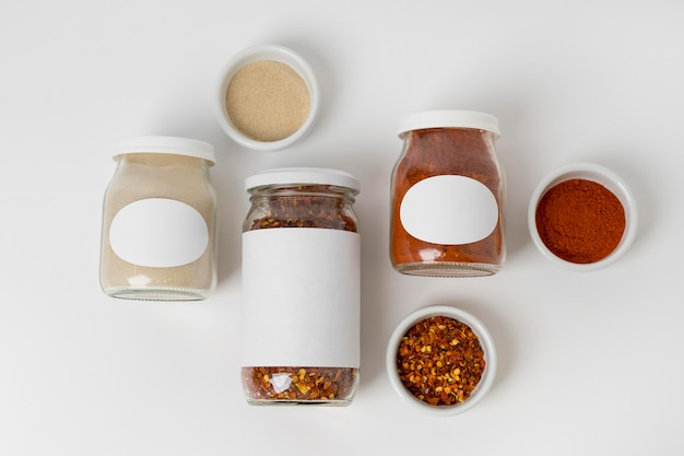 Top view composition of spices with labels