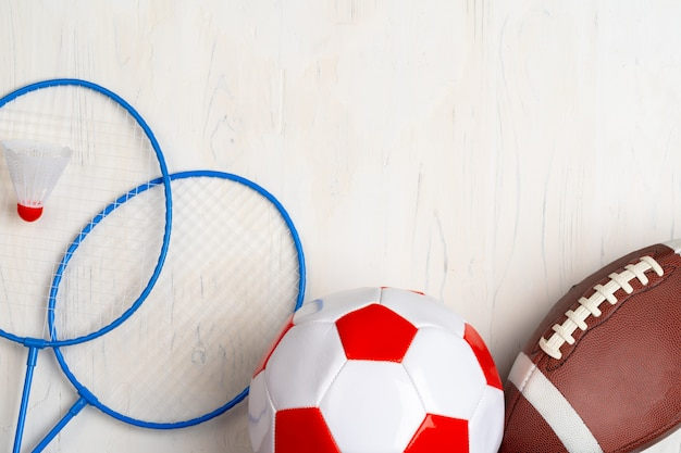 Top view of composition of sport accessories