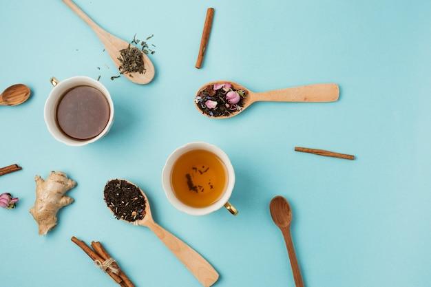 Top view composition for tea concept