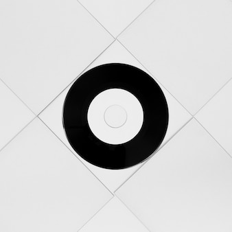 Top view composition of vinyl packaging