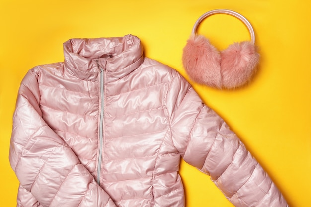 Top view of the composition of warm clothing for children