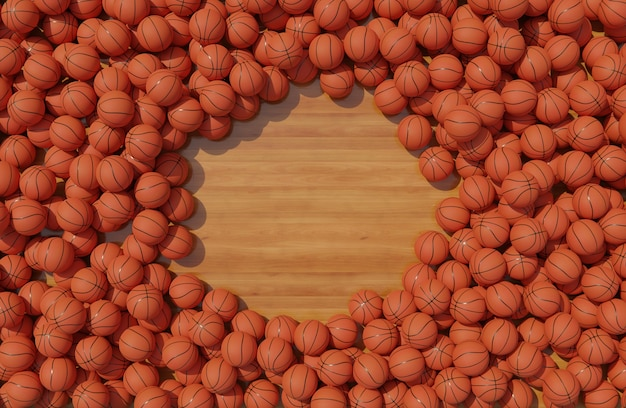 Top view of composition with basketballs