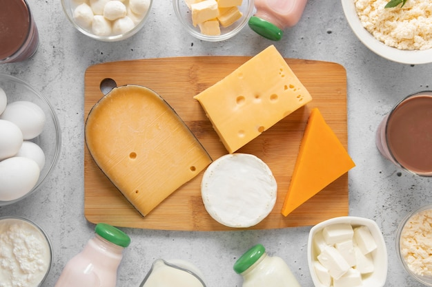 Top view composition with dairy products