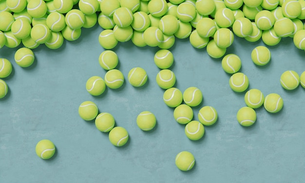 Top view of composition with tennis balls