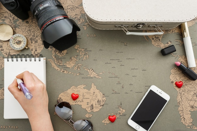 Top view of composition with travel accessories
