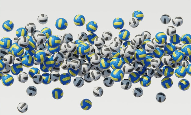Top view of composition with volleyballs