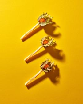 Композиция вида сверху с желтым растением физалис и пластиковыми соломинками для сока на желтой бумажной предпосылке с мягкими тенями. современный стиль.