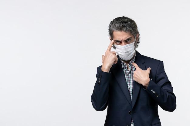 Vista dall'alto di un giovane uomo d'affari confuso in tuta che indossa maschera e posa per la macchina fotografica su sfondo bianco