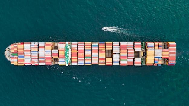 상위 뷰 컨테이너 선박 수입 수출 운송 물류