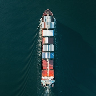 Top view of container ship. square format