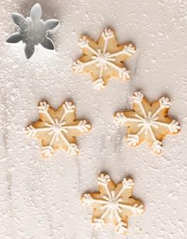 Vista dall'alto del concetto di disposizione dei biscotti