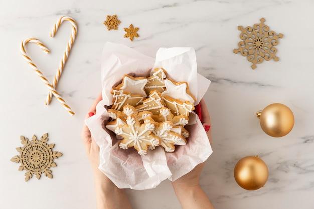 Top view of cookies arrangement concept