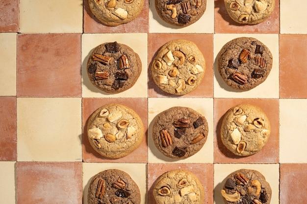 Top view cookies arrangement