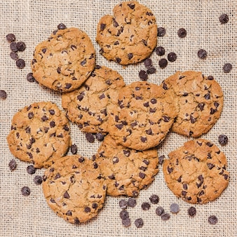 Top view cookies with chocolate chips