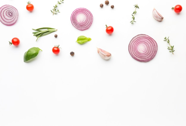 Top view cooking ingredients on table