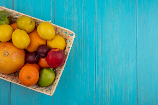 Top view  copy space fruit mix grapefruit  lemons  limes  oranges  peaches  and plums in a basket on a turquoise background