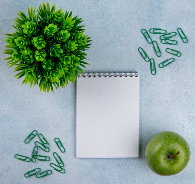 Mela verde dello spazio della copia di vista superiore con il blocco note e le graffette verdi su un fondo grigio