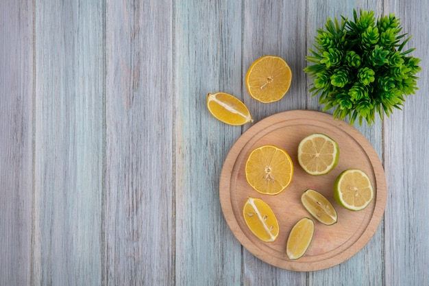 Top view  copy space lemon wedges with lime on cutting board on gray background