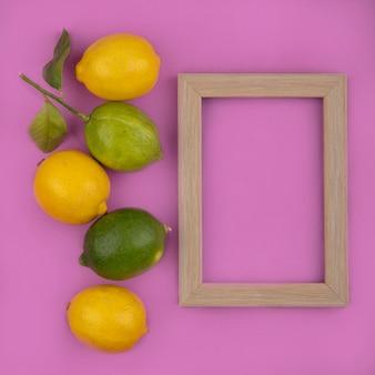 ピンクの背景にライムとフレームの上面コピースペースレモン