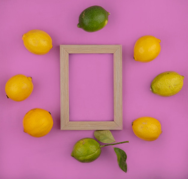 Limoni di spazio copia vista dall'alto con limette e cornice su sfondo rosa