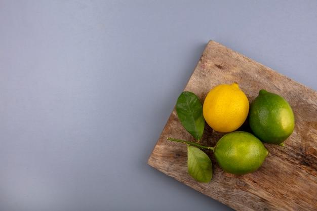 Vista dall'alto lo spazio della copia limette con limone sul tagliere su sfondo grigio