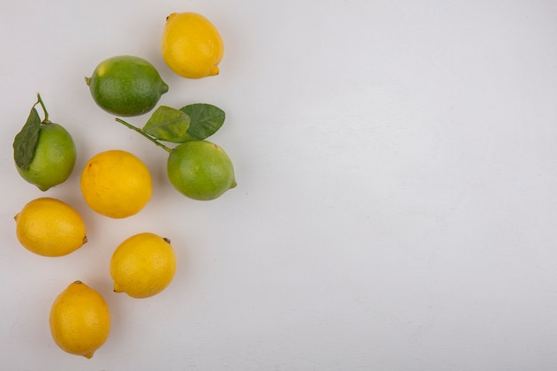 Top view  copy space limes with lemons on white background