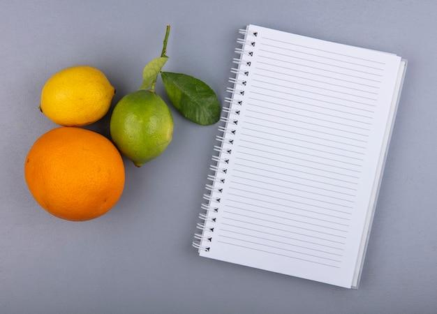 Blocco note dello spazio della copia di vista superiore con il limone e la calce arancio su fondo grigio