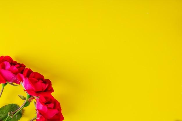 黄色の背景に平面図コピースペースピンクのバラ