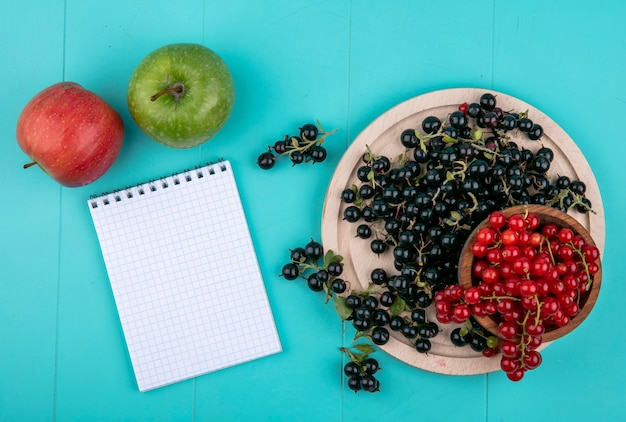 Top view copy space red currants in a bowl with black currants on a blackboard with a notebook and apples on a light blue background
