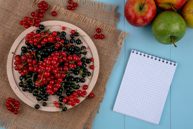Vista dall'alto copia spazio rosso con ribes nero su un piatto su un tovagliolo beige con un taccuino su uno sfondo blu chiaro