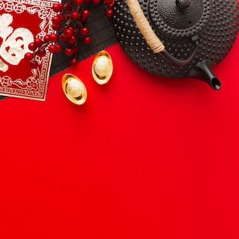 Вид сверху копия пространства традиционная новогодняя китайская композиция 2021 года