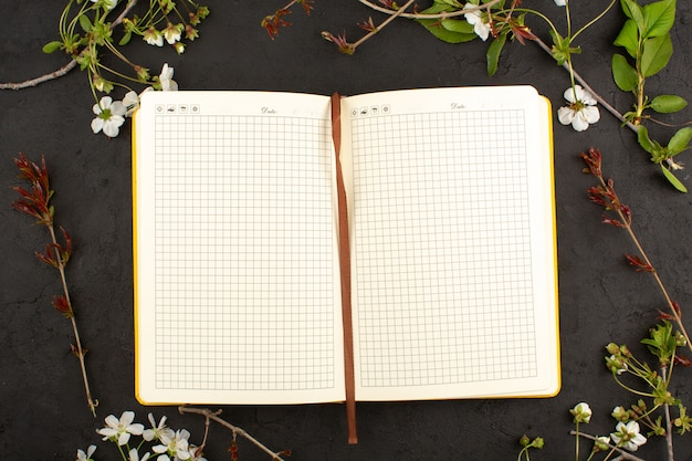 Top view copybook opened on the dark